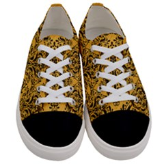 Damask1 Black Marble & Orange Colored Pencil (r) Women s Low Top Canvas Sneakers