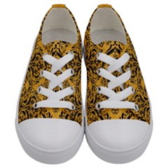 Damask1 Black Marble & Orange Colored Pencil (r) Kids  Low Top Canvas Sneakers