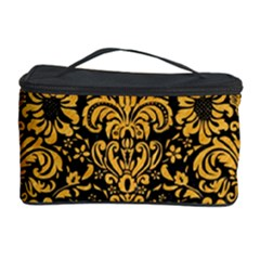 Damask2 Black Marble & Orange Colored Pencil Cosmetic Storage Case