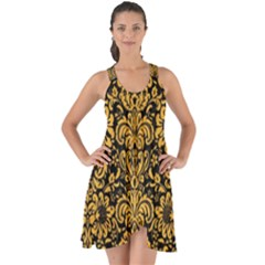 Damask2 Black Marble & Orange Colored Pencil Show Some Back Chiffon Dress