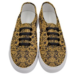 Damask2 Black Marble & Orange Colored Pencil Women s Classic Low Top Sneakers