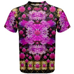 Flowers And Gold In Fauna Decorative Style Men s Cotton Tee