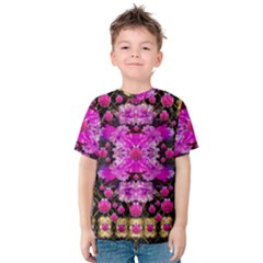 Flowers And Gold In Fauna Decorative Style Kids  Cotton Tee