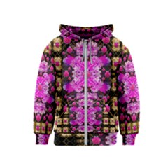 Flowers And Gold In Fauna Decorative Style Kids  Zipper Hoodie