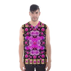 Flowers And Gold In Fauna Decorative Style Men s Basketball Tank Top