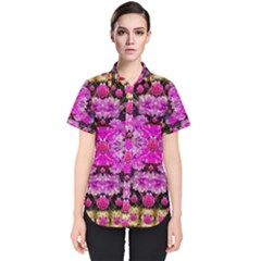 Flowers And Gold In Fauna Decorative Style Women s Short Sleeve Shirt