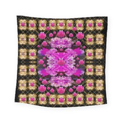 Flowers And Gold In Fauna Decorative Style Square Tapestry (small)