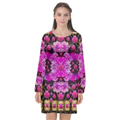 Flowers And Gold In Fauna Decorative Style Long Sleeve Chiffon Shift Dress