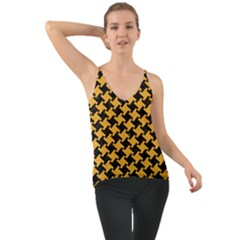 Houndstooth2 Black Marble & Orange Colored Pencil Cami