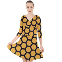 Hexagon2 Black Marble & Orange Colored Pencil (r) Quarter Sleeve Front Wrap Dress