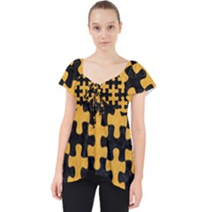 Puzzle1 Black Marble & Orange Colored Pencil Lace Front Dolly Top