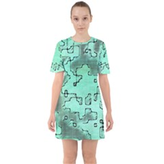 Fantasy Dungeon Maps 7 Sixties Short Sleeve Mini Dress