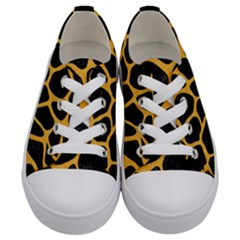 Skin1 Black Marble & Orange Colored Pencil (r) Kids  Low Top Canvas Sneakers