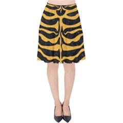 Skin2 Black Marble & Orange Colored Pencil Velvet High Waist Skirt