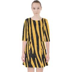 Skin4 Black Marble & Orange Colored Pencil (r) Pocket Dress