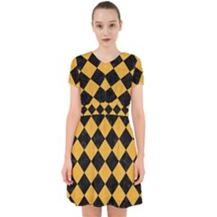 Square2 Black Marble & Orange Colored Pencil Adorable In Chiffon Dress