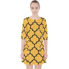 Tile1 Black Marble & Orange Colored Pencil (r) Pocket Dress