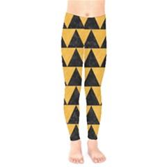 Triangle2 Black Marble & Orange Colored Pencil Kids  Legging