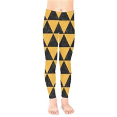 Triangle3 Black Marble & Orange Colored Pencil Kids  Legging