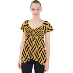 Woven2 Black Marble & Orange Colored Pencil (r) Lace Front Dolly Top
