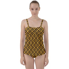 Woven2 Black Marble & Orange Colored Pencil (r) Twist Front Tankini Set