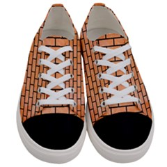 Brick1 Black Marble & Orange Watercolor Women s Low Top Canvas Sneakers