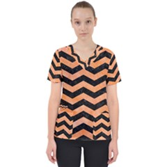 Chevron3 Black Marble & Orange Watercolor Scrub Top