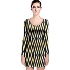 Gold,black,art Deco Pattern Long Sleeve Velvet Bodycon Dress