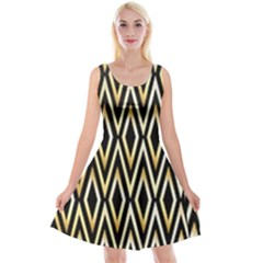 Gold,black,art Deco Pattern Reversible Velvet Sleeveless Dress