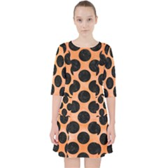 Circles2 Black Marble & Orange Watercolor Pocket Dress