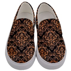 Damask1 Black Marble & Orange Watercolor (r) Men s Canvas Slip Ons
