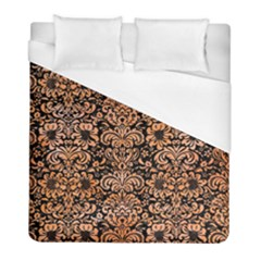 Damask2 Black Marble & Orange Watercolor (r) Duvet Cover (full/ Double Size)