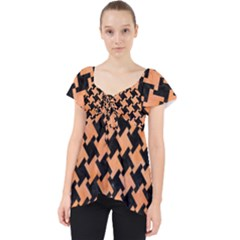 Houndstooth2 Black Marble & Orange Watercolor Lace Front Dolly Top