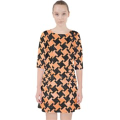Houndstooth2 Black Marble & Orange Watercolor Pocket Dress