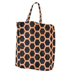 Hexagon2 Black Marble & Orange Watercolor (r) Giant Grocery Zipper Tote