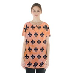 Royal1 Black Marble & Orange Watercolor (r) Skirt Hem Sports Top