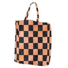 Square1 Black Marble & Orange Watercolor Giant Grocery Zipper Tote