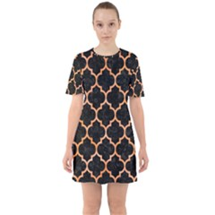Tile1 Black Marble & Orange Watercolor (r) Sixties Short Sleeve Mini Dress