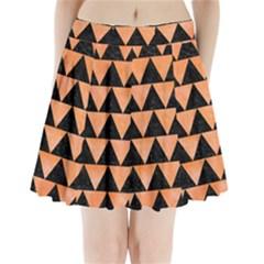 Triangle2 Black Marble & Orange Watercolor Pleated Mini Skirt