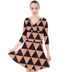 Triangle3 Black Marble & Orange Watercolor Quarter Sleeve Front Wrap Dress