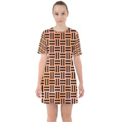 Woven1 Black Marble & Orange Watercolor Sixties Short Sleeve Mini Dress