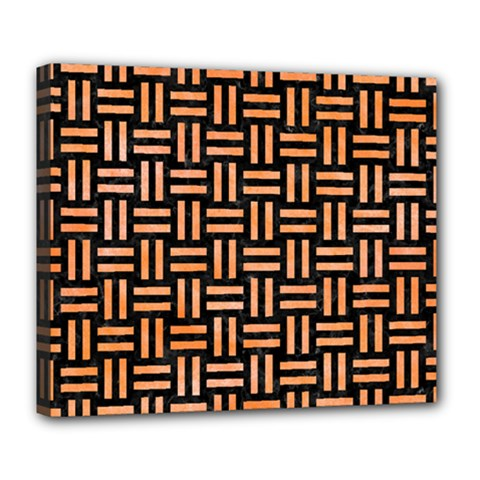 Woven1 Black Marble & Orange Watercolor (r) Deluxe Canvas 24  X 20
