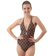 Woven2 Black Marble & Orange Watercolor (r) Halter Cut Out One Piece Swimsuit