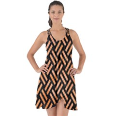 Woven2 Black Marble & Orange Watercolor (r) Show Some Back Chiffon Dress