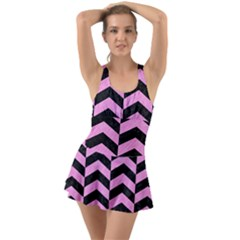 Chevron2 Black Marble & Pink Colored Pencil Swimsuit