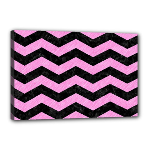 Chevron3 Black Marble & Pink Colored Pencil Canvas 18  X 12