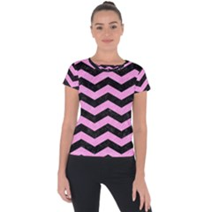 Chevron3 Black Marble & Pink Colored Pencil Short Sleeve Sports Top