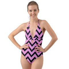 Chevron9 Black Marble & Pink Colored Pencil Halter Cut Out One Piece Swimsuit