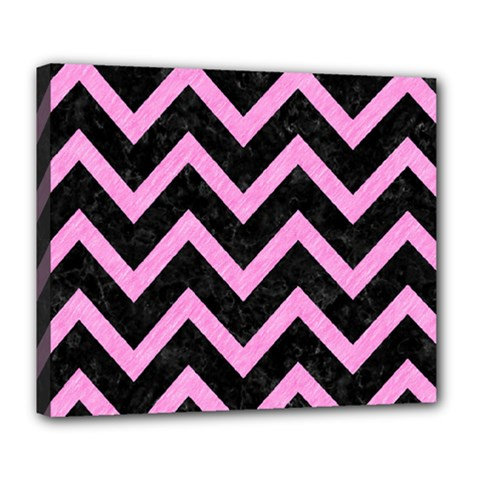 Chevron9 Black Marble & Pink Colored Pencil (r) Deluxe Canvas 24  X 20