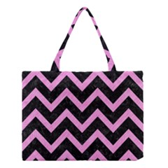 Chevron9 Black Marble & Pink Colored Pencil (r) Medium Tote Bag